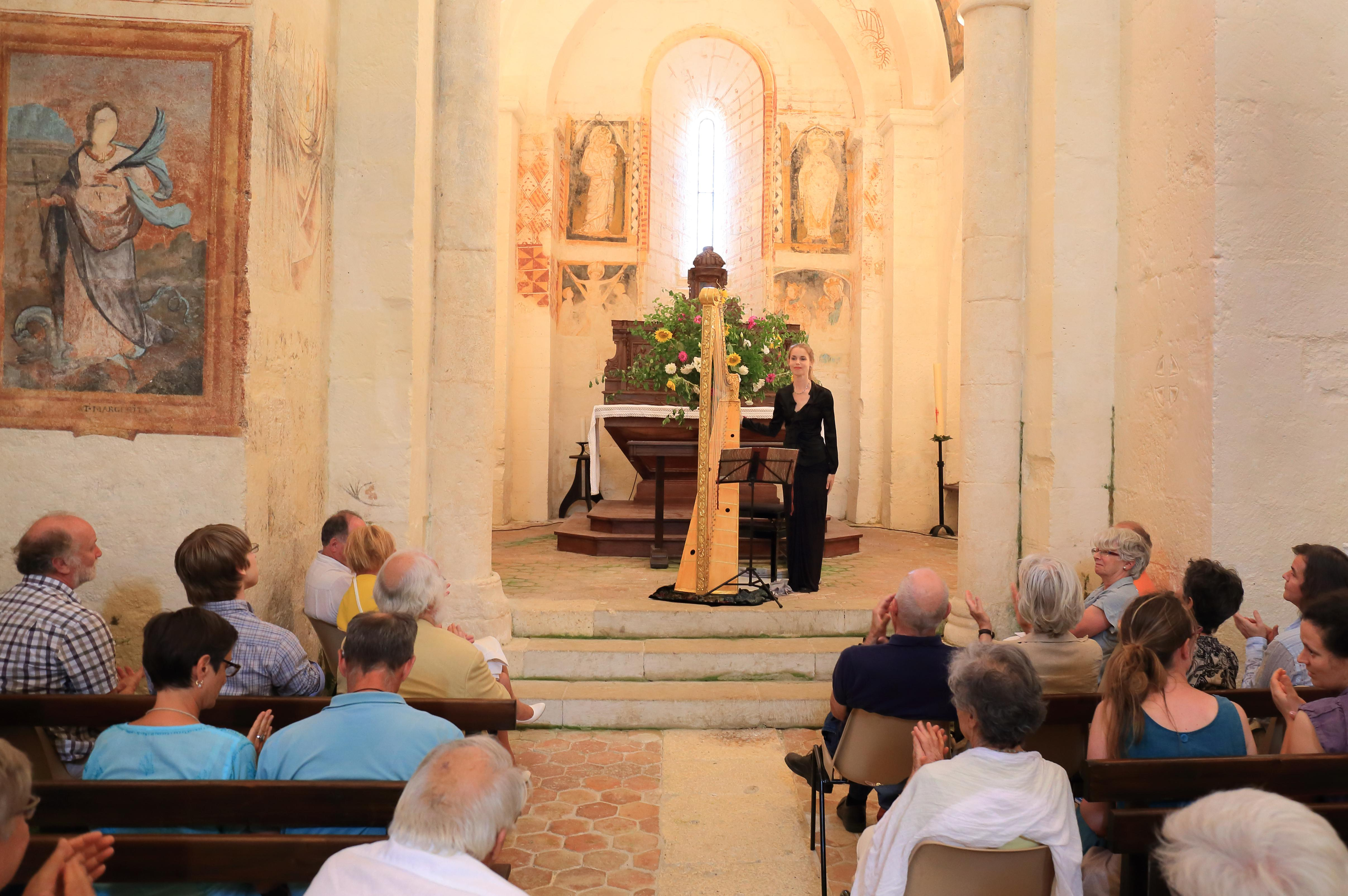 Harpist in a French church