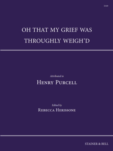 Cover of D109 Purcell Oh that my grief