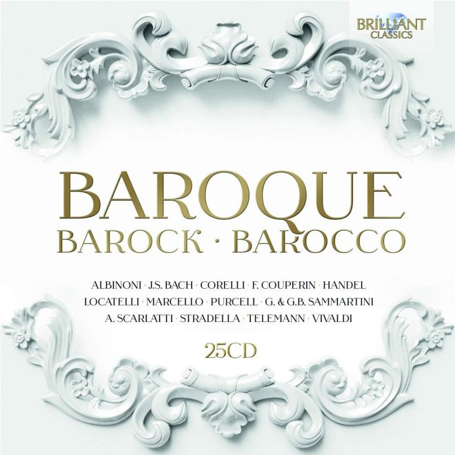 Cover of a box of CDs of Baroque music