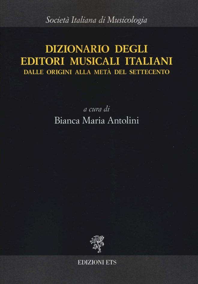 Cover of an Italian dictionary of early music printing Dizionario
