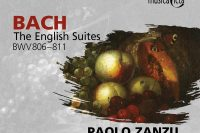 CD cover of Paolo Zanzu playing Bach's English Suites on harpsichord